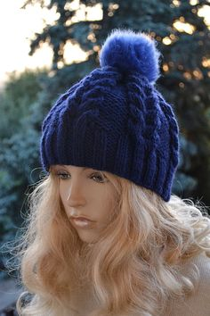 Knitted+navy+blue++cap/hat++FUR+POMPOM+Women's+Hat+от+DosiakStyle