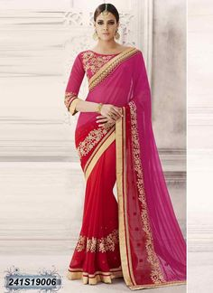 Bedazzling Red and Pink Coloured Georgette Embroidered Saree