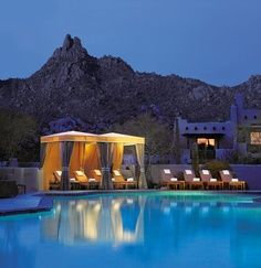 Who says pools are for daytime only? Soak in the Sonoran Desert night in a private cabana at @Mandy Bryant Dewey Seasons Resort Scottsdale at Troon North.