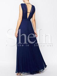 V azul sin mangas de cuello plisado vestido maxi