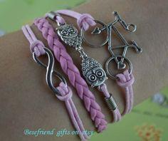 Hand woven bracelet Bicycle infinite love by Bestfriendgiftshop, $2.99