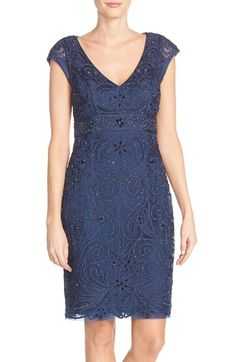 Sue Wong Embellished Illusion Back Sheath Dress available at #Nordstrom
