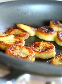 Fried Honey Bananas- just coconut oil, honey, bananas and a little cinnamon. Delicious AND nutritious.