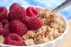 Cinnamon Breakfast Quinoa with Raspberries -- tastes great with all types of berries and fruit. Check out our newsletter for the recipe.