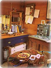 small working studio for beadwork to metalsmithing