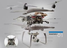 This detailed infographic of the DJI Phantom 4 was created by Dronefly to show exactly what's inside the iconic quadcopter. Mechanical Engineering Design, Engineering Tools, Small Drones, Phantom Drone, Flying Drones, Aerial Drone, Drone Quadcopter, Drone Photography, Racing