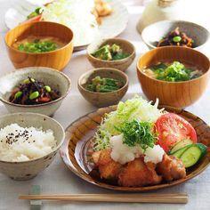 鶏唐揚げのおろしポン酢がけ、︎オクラの胡麻和え、︎ひじき煮、︎玉ねぎのお味噌汁