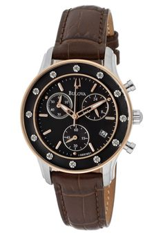 Price:$271.43 #watches Bulova 98R160, Created in a blend of fashion and class, this Bulova timepiece exhibits a bold style that adds flare to your collection.