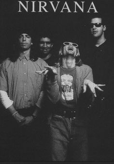 Nirvana! Oh, silly Kurt: Pat is encouraging him, Krist is trying NOT to laugh, and Dave is cool as a cucumber. My boys; I love them so. (: