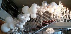 Glamorous balloon decor for Shimmy Beach Club Christmas 2016 silver and white #balloondecor #staircasedecor #whiteandsilverdecor