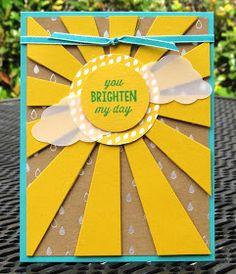 Krystal's Cards: Stampin' Up! Sunburst Sayings Brighten My Day #stampinup #sunburstsayings #onlinestampclass