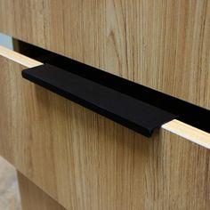Modern simple cabinet door edge handle wardrobe drawer pulls black hidden furniture handles Zinc alloy kitchen cabinet knob 96mm