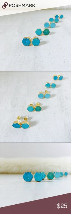 Natural Turquoise Hexi-Studs Gorgeous natural turquoise hexagon studs. Gold dipped, each is a unique, handmade work of art. Choose one of five sets. The natural stone contributes to the beauty of these earrings, irregularities and variations are considered a treasured quality. Front row, left to right #1-2; back row, left to right #3-5 fabuleux Jewelry Earrings