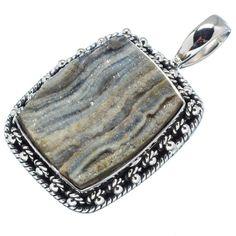 "Ana Silver Co Black Agate Druzy 925 Sterling Silver Pendant 1 1/2"" PD595956"