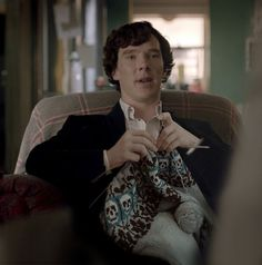 Sherlock knitting Barachiki. Maybe Benedict really does knit!: