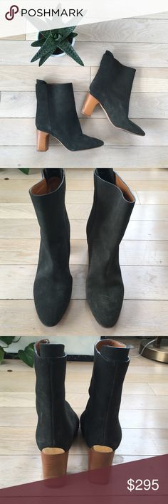 Sale🎃Chloé boots Gorgeous green suede pull on boots with wooden heel. Worn 3 times. Has some slight scuffing in suede, nothing too major. No box or dust bag. Chloe Shoes Heeled Boots