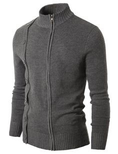 425283dd8c9 Mens Zip up Cardigan Sweater GREY (NAK05) Grey XXL(UK X-Large)  Amazon.co.uk   Clothing