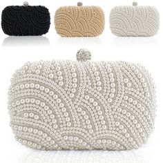 e862cbeca Fashion lady women clutch bag pearl beaded party bridal handbag wedding  evening purse Cartera De Mano