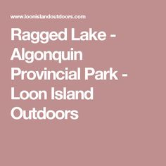 Ragged Lake - Algonquin Provincial Park - Loon Island Outdoors Outdoors, Island, Activities, Park, Travel, Block Island, Outdoor, Islands, Parks