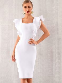 Ankara Dress, Dress P, Ruffle Dress, Knit Dress, Ruffle Sleeve, Dressy Outfits, Fashion Outfits, Womens Fashion, White Bandage Dress