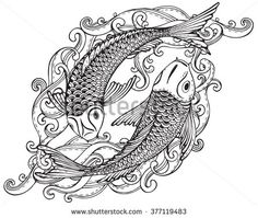 5a0afafe62c Hand drawn vector illustration of two Koi fishes (Japanese carp) with  waves. Symbol