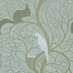 """Squirrel & Dove"" wallpaper. First produced in the 1890s by Sanderson, and they're bringing it back. :)"