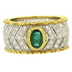 Buccellati Diamond Emerald Gold Band Ring    From a unique collection of vintage more rings at https://www.1stdibs.com/jewelry/rings/more-rings/