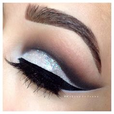 White glitter cut crease