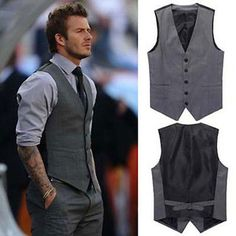 New Men's Slim Fit Casual Formal Dress Vest Suits Tops Gray Grey M-XXL w59 in Clothing, Shoes & Accessories, Men's Clothing, Vests | eBay