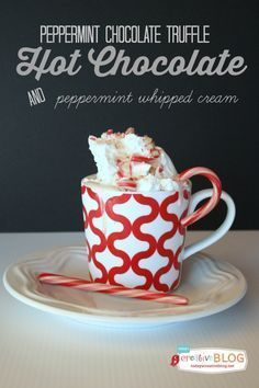 Homemade Peppermint Hot Chocolate | Use up your candy canes for your next batch of hot cocoa! Easy to make stove top or slow cooker. #hotchocolate