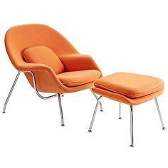 Eero Saarinen Womb Style Chair and Ottoman Set in Orange