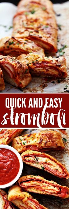This Stromboli gets loaded with italian salami, pepperoni, pizza sauce and cheese! This is so quick, easy and delicious you will want to make it again and again! # fun Easy Recipes Quick and Easy Stromboli I Love Food, Good Food, Yummy Food, Italian Dishes, Italian Recipes, Stromboli Recipe, Calzone, Stromboli Italian, Gastronomia