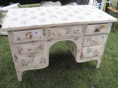 Fabric covered desk from Kempton Park fleamarket (just outside london)