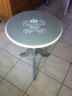 I painted this round lamp table with Annie Sloan paint and added a stencil.