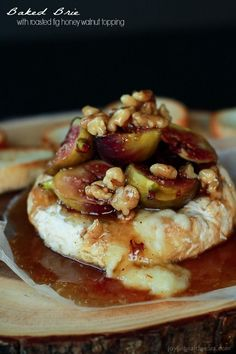 This Baked Brie appetizer rocks!! Especially with the Roasted Fig Honey Walnut Topping... Must make!   www.joyfulhealthyeats.com