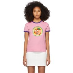 Marc Jacobs Pink The Ringer T-shirt In 651 Pink Saks Potts, Pink Photo, Collar And Cuff, Black Print, World Of Fashion, Rib Knit, Marc Jacobs, T Shirts For Women, Orange Yellow
