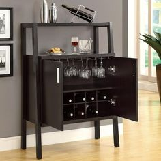 "Buy the Monarch Cappuccino 48""H Bar Unit With Bottle And Glass Storage at Home Bars USA. We offer Home Bars with Best Price Guarantee and Fast, FREE Shipping."