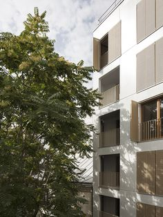 """The social housing apartments at 179 rue Saint‐Maur are located on the site of a former well known space for over thirty years: the """"Nine Billiards"""". Social Housing, Space Images, Retail Space, Architecture, Rue, Multi Story Building, The Unit, Windows, Projects"""