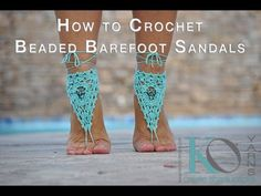 Learn how to make a pair of ADORABLE beaded crochet barefoot sandals. Learn how to bead twice in a double treble crochet stitch, how to make picots, and work...