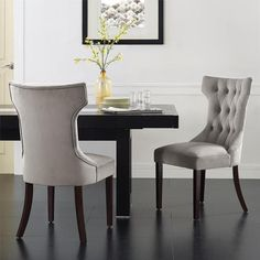 Don't just dream about a dining room with upholstered chairs - make it happen with the Dorel Living Clairborne Tufted Dining Chair - Set of 2 . Tufted Dining Chairs, Modern Dining Chairs, Upholstered Furniture, Dining Chair Set, Paint Furniture, Staging Furniture, Furniture Chairs, Affordable Furniture, House Furniture