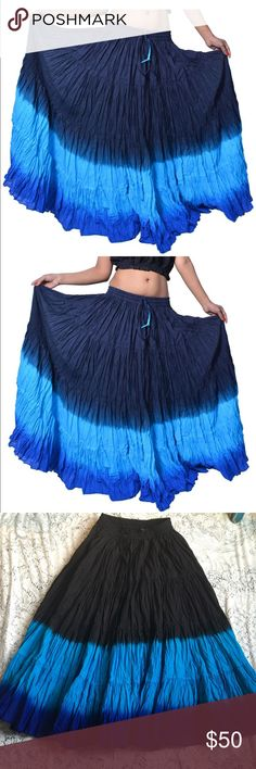 🎉NEW LISTING🎉Women's Cotton black & Blues 🎉NEW LISTING🎉A STUNNING FULL, TIES AT WAIST 100% COTTON AMAZING SKIRT.  A BEAUTIFUL COLORING WITH BLACK AT TOP & TEAL BLUE AND NAVY. ALL SEEM TO FLOW TOGETHER. Could be described as a belly dancers skirt, me personally, low cut leotard with stirrup leggings & boots, heels or what you prefer. Work to workout perfect!!. I can wear low heel shoes or sandals when I wear at belly button level & heels or wedges when on hips. ABSOLUTELY STUNNING YARDS…