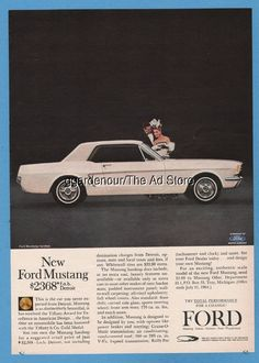 1964 Ford Mustang white hardtop Car NEW photo magazine print intro ad