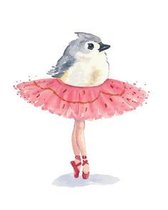 Malerei Grafik - Aquarell Print, Birdie Ballett, Ballerina, Ballett getuftet Meisen, 8 x 10 Kunstdruck