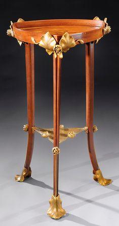 Art Nouveau Mahogany, Marquetry & Bronze Pedestal Table by Louis Majorelle 1900