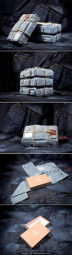 Jeans creatively displayed.