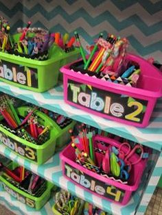 "Fun and colorful way to organize supplies for your class and add an extra bin for ""trash"". This keeps students from going to the recycle bin."