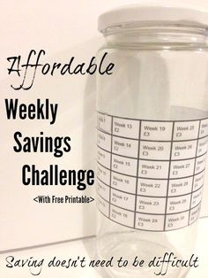 Join in with an affordable weekly savings challenge (Free Printable)....