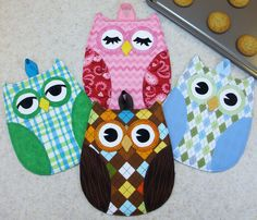 hot who hot pads, cute owls!