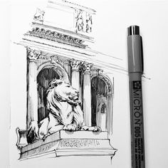 No.774 | Got my NY library card today. This lion here is named Patience or maybe it's Fortitude...definitely Patience. | #1011drawings #penandink #drawing #newyork #architecture #illustration #moleskine #micron #archisketcher