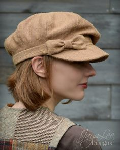 Slouch Newsboy Hat Cap Taffy Brown Autumn by GreenTrunkDesigns
